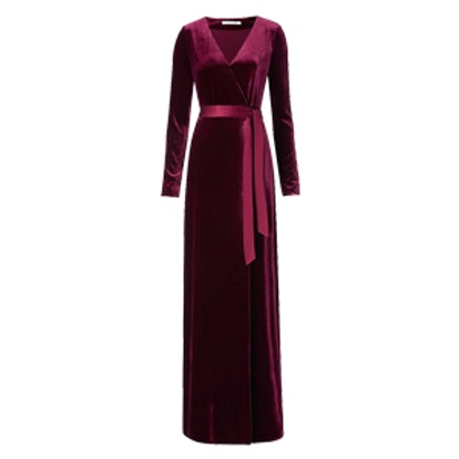 Julian Velvet Wrap Maxi Dress