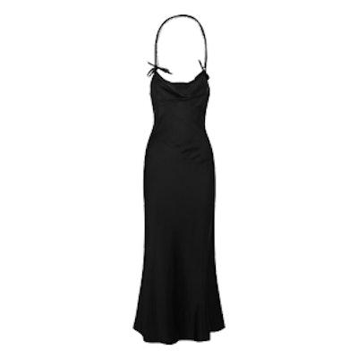 Sophia Crystal-Embellished Satin Halterneck Gown