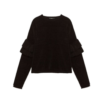 Frilled Chenille Sweater