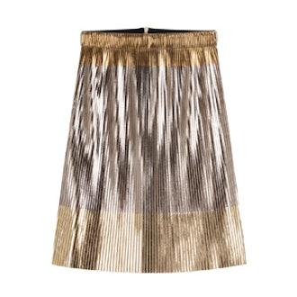 Metallic Superstar Micro Pleat Skirt