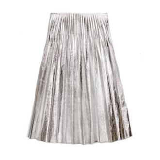 Metallic Leather Plissé Skirt
