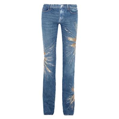Ava Embellished Low-Rise Slim-Leg Jeans