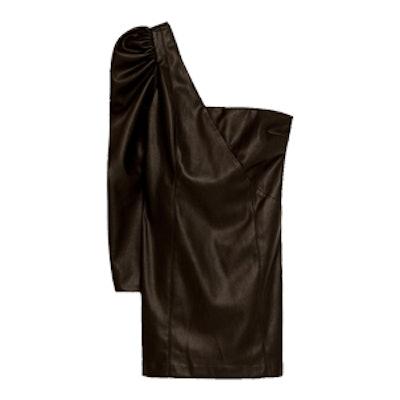 Asymmetric Leather-Effect Dress