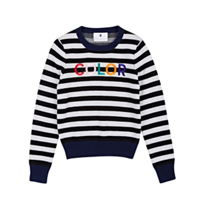 Color Embroidered Wool-Cashmere Sweater