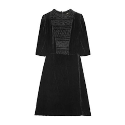 Shirred Velvet Mini Dress