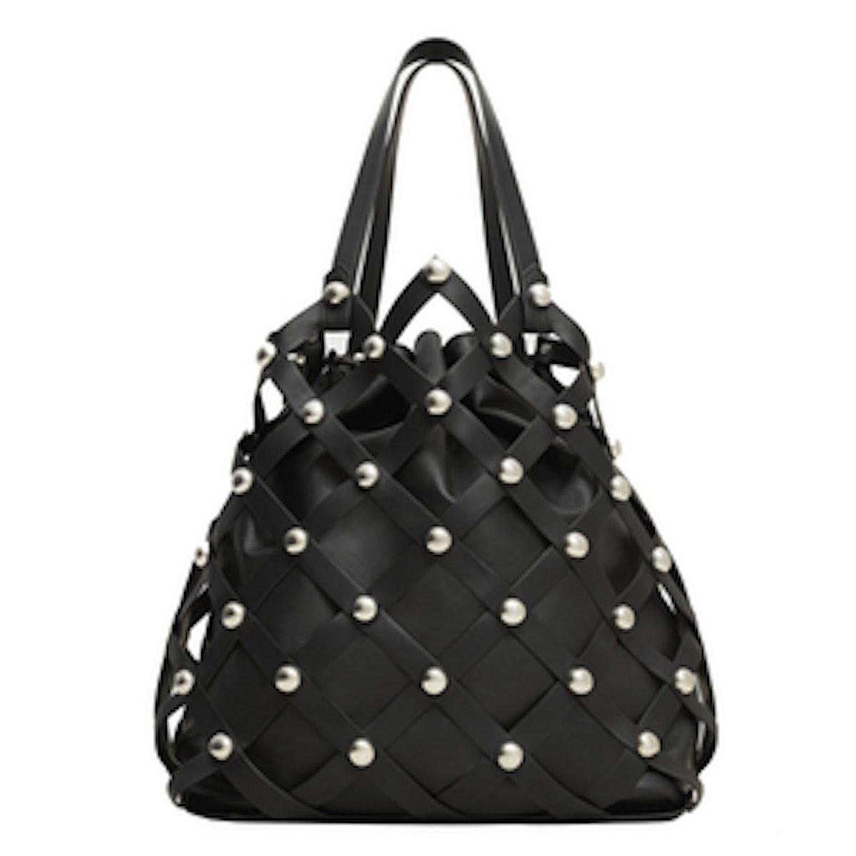 Woven Lattice Bucket Bag