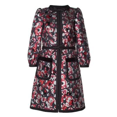 Warped Flower Sequin Jacquard Coat
