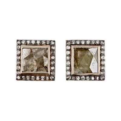 Diamond Square Stud Earrings