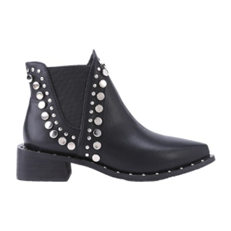 Black Faux Leather Point Toe Studded Elastic Ankle Boots
