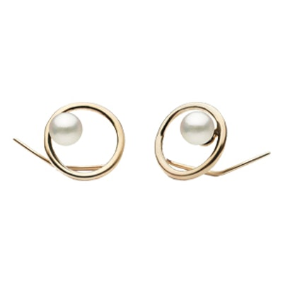 Circle Earrings with Akoya Pearls in 14k Yellow Gold