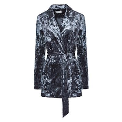 Navy Robe Velvet Blazer