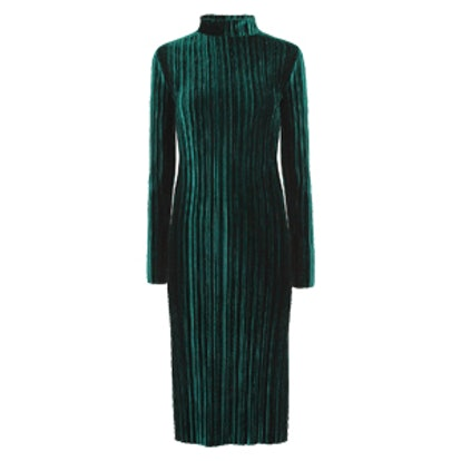 Velvet Pleated Midi Dress