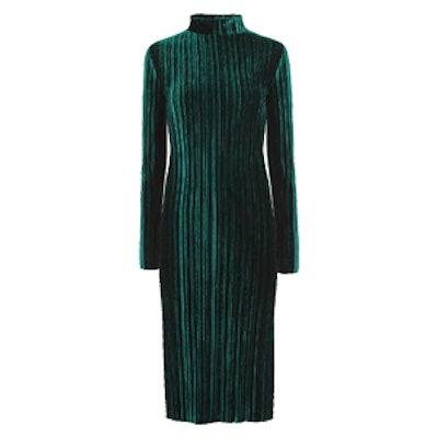 Dark Green Velvet Pleated Midi Dress