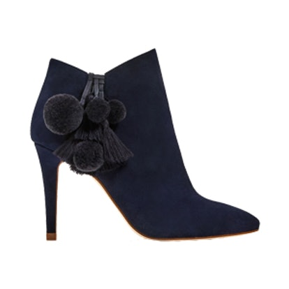 Leather High Heel Ankle Boots With Pompoms