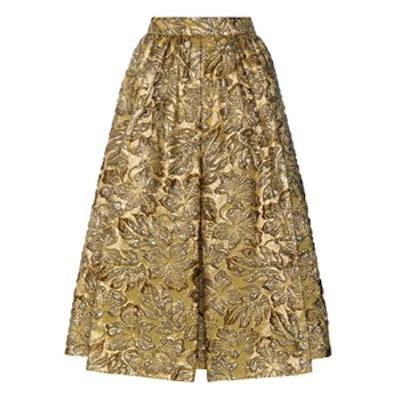 Metallic Cloqué Jacquard Skirt