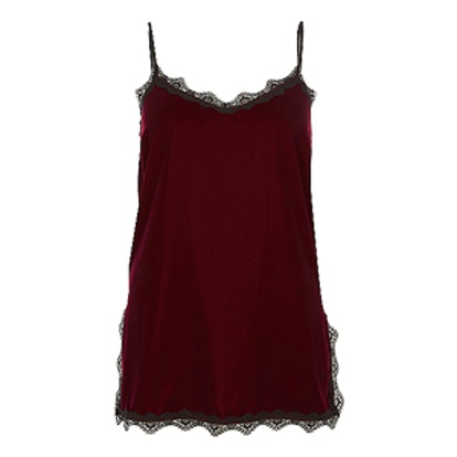 Dark Red Velvet Lace Trim Cami Top