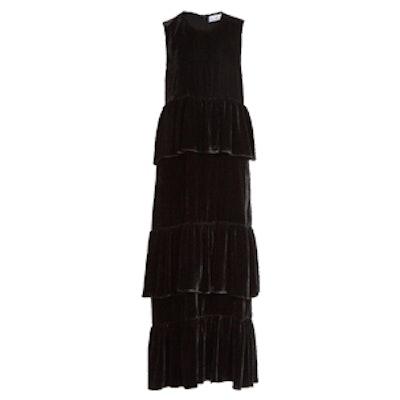 Tiered-Ruffle Velvet Dress