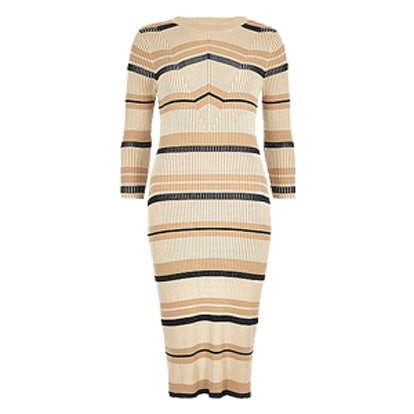 Stripe Ribbed Midi Dress