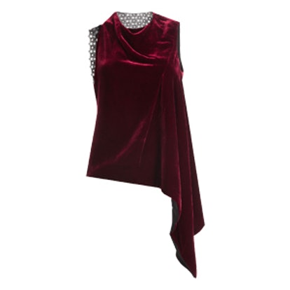 Velvet Top With Asymmetric Hemline And Lace