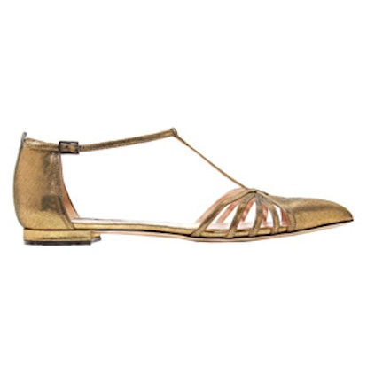 Carrie Metallic Leather Point-Toe Flats