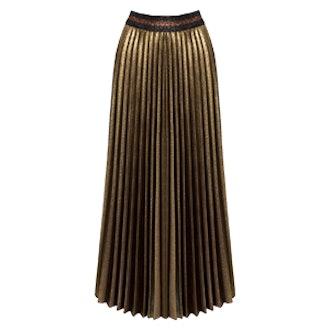Metallic Glitter Pleated Midi Skirt