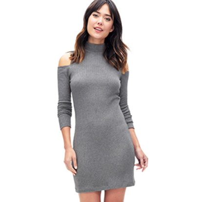 Cold Shoulder Waffle Knit Dress