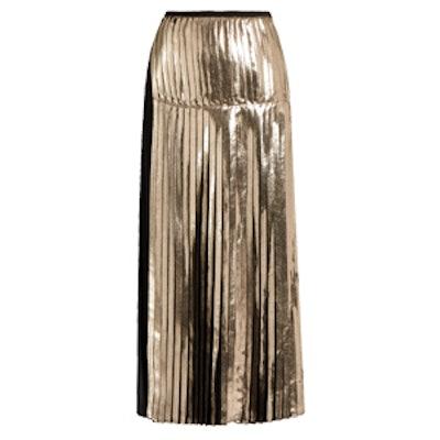 Carmen Bi-Colour Pleated Satin-Back Crepe Skirt