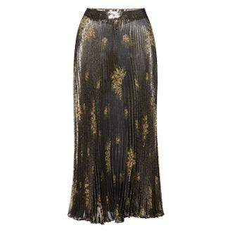 Pleated Lurex Skirt