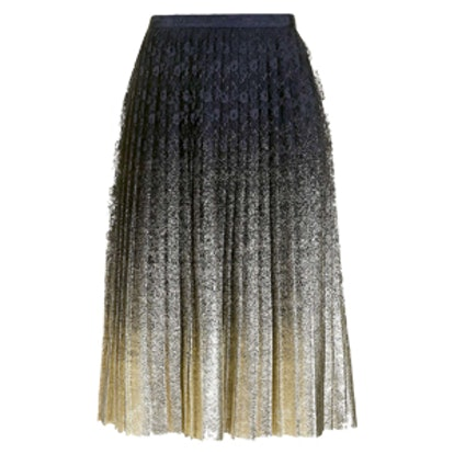 Pleated Foil Lace Skirt