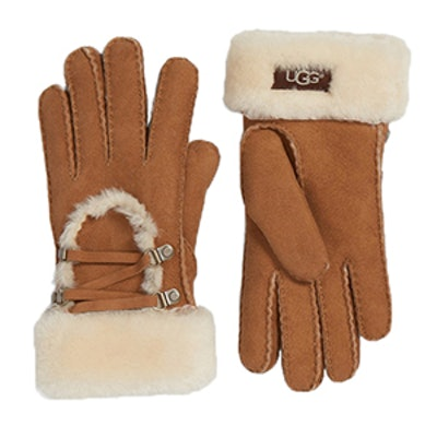 Lace Up Genuine Shearling Gloves