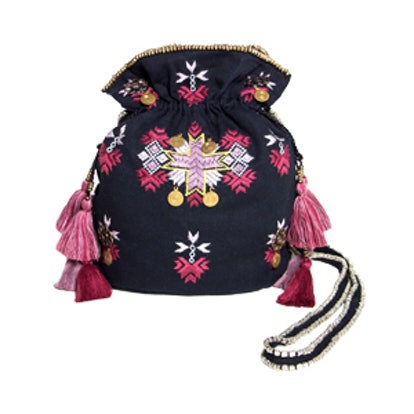 Milly Embroidered Cinch Bag
