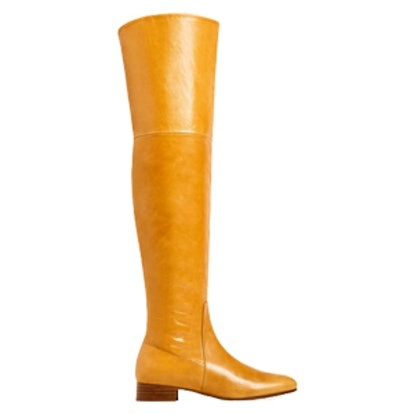 Over-The-Knee Flat Leather Boots