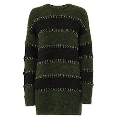 Metal Ring Piercing Striped Sweater Dress