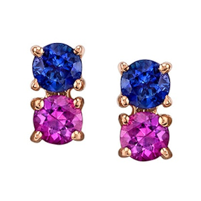 Pink and Blue Sapphire 2-Dot Earrings