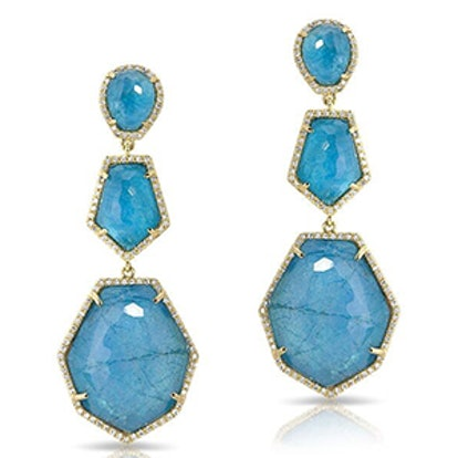 14K Yellow Gold, Blue Apatite And Diamond Triple-Drop Earrings