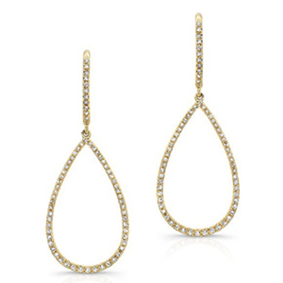 14K Yellow Gold And Diamond Pear-Shaped Earrings