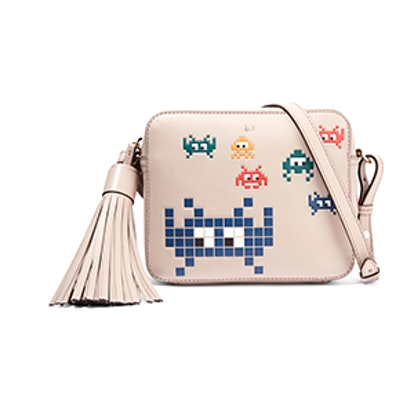 Space Invaders Embossed Leather Shoulder Bag