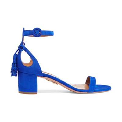 Pixie Bow-Embellished Suede Sandals