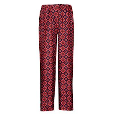 Geometric Tile Print Silk Twill Pyjama-Style Trousers