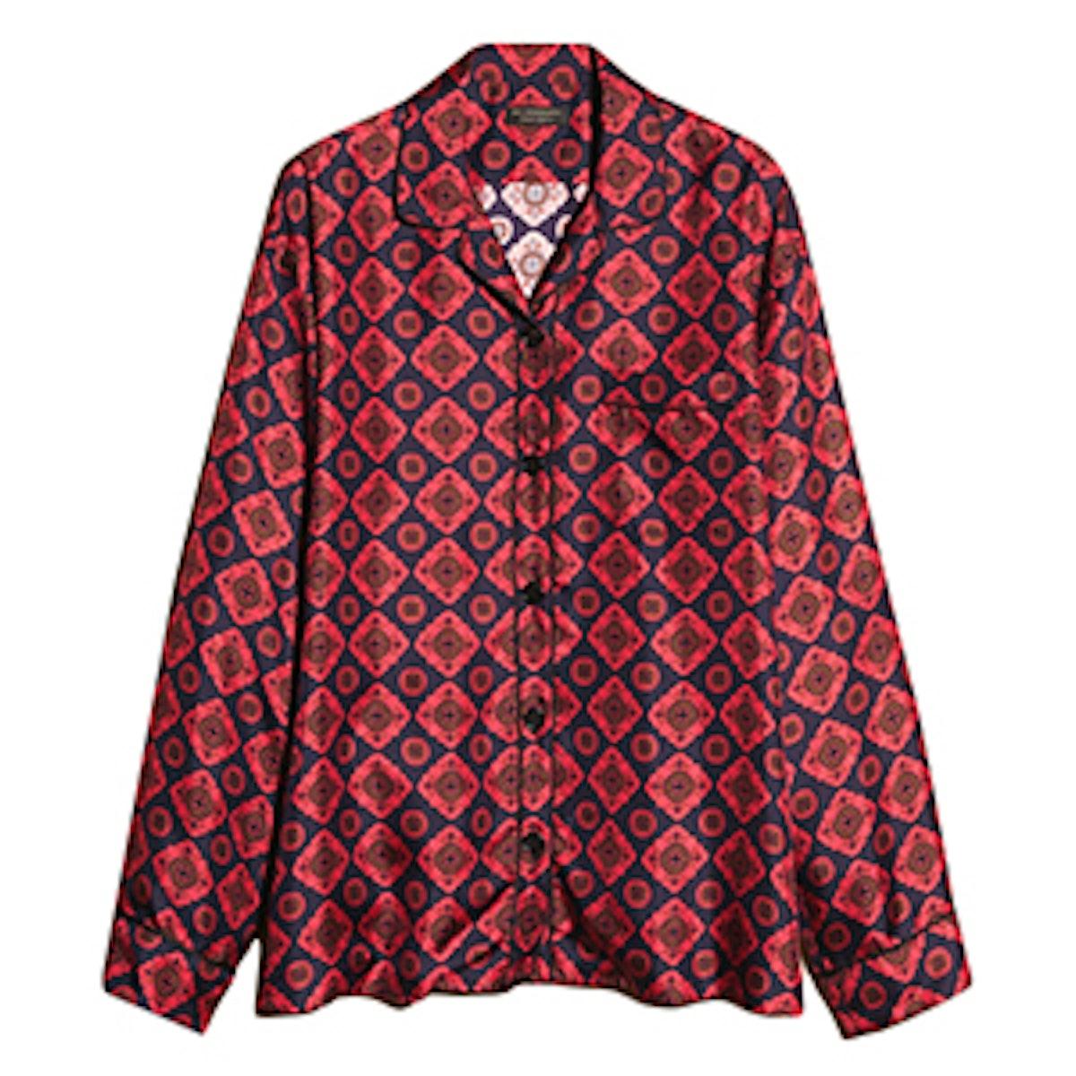 Geometric Tile Print Silk Pyjama Style Shirt
