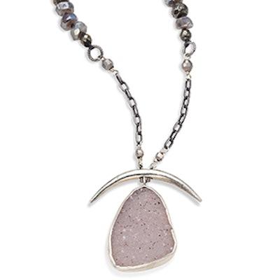 Pyrite, Mystic Lab & White Agate Pendant Necklace