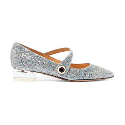 Uma Glittered Canvas Point-Toe Flats