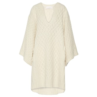 Oversized Cable-Knit Wool Sweater Dress