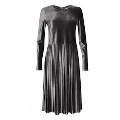 Dusty Velvet Pleated Dress