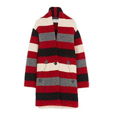 Gabrie Striped Wool-Blend Bouclé Coat