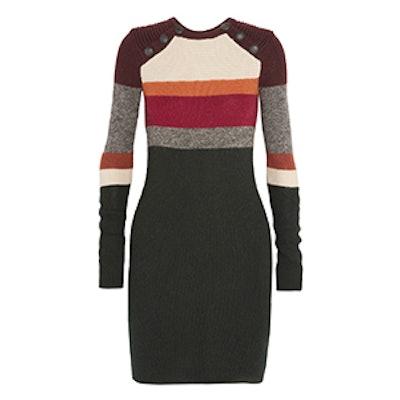 Duffy Striped Wool Mini Dress