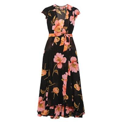 Floral-Print Georgette Wrap Dress