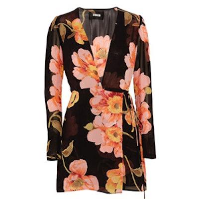 Floral-Print Georgette Wrap Mini Dress