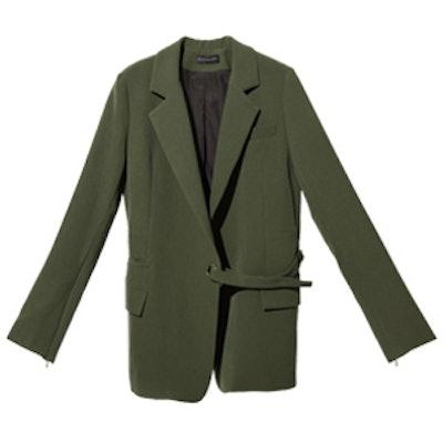 FRS Olive Split Cuff Belted Blazer