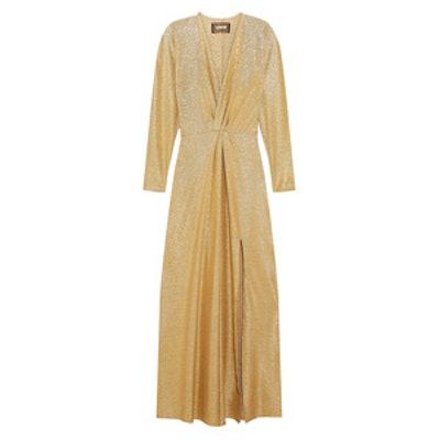 Wrap-Effect Stretch-Lamé Gown